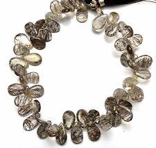 "Natural Gem Sri Lanka Black Rutile Quartz Smooth Pear Shape Briolette Beads 8"""