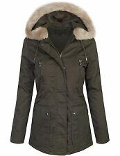 Women's Faux Far Hooded Jacket with Pockets & Zipper Snap Button Coats Parka SML