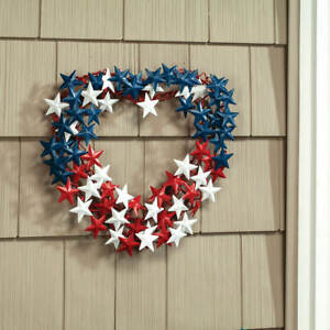 Heart-Shaped Red, White & Blue Patriotic Stars 4th of July Metal Door Wreath