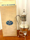 Vintage Pilgrim Silver Plate Glass Coffee Carafe with Silver Stand, Warmer NOS