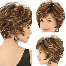 Fashion sexy Women's ladies short Brown mixed Natural Hair full wigs + wig
