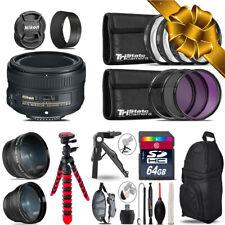 Nikon AF-S 50mm 1.8G - 3 Lens Kit + Tripod + Backpack - 64GB Holiday Gift Bundle