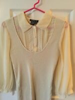 Sara L Woman's ivory Romantic 3/4 sheer Sleeved blouse w/lace detail