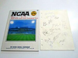 1991 NCAA CWS Baseball Championship Program + Signatures Signed Sheet LSU Wins !