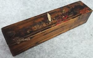 Triple Compartment Wooden Treen Pen Pencil Art Stationery Case Box Antique Gift