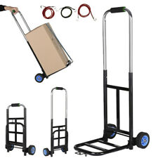 Cart Folding Dolly Hand Truck Push Collapsible Aluminium Trolley Luggage w/3Cord