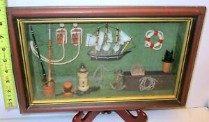 Vtg NAUTICAL MARITIME Diarama SHADOW BOX ART SHIP LIGHT HOUSE ANCHOR