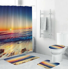 Sunset Beach Shower Curtain Bathroom Rug Set Thick Bath Mat Toilet Lid Cover