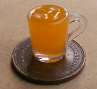 1:12 Handmade Orange Drink In A Plastic Glass + Ice Dolls House Miniature Drink