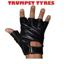 Guanti neri senza dita per motociclista pelle
