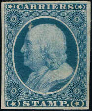 #LO3 1875 GOVERMENT REPRINT FRANKLIN CARRIER STAMP MINT-NO GUM AS ISSUED--THIN