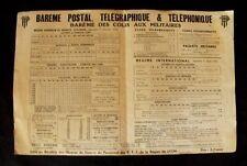 Affiche Barème postal, télégraphique & téléphonique PTT Lyon. 1939 WW2
