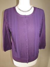 MARKS & SPENCER PER UNA Ladies Purple Fine Knit Cardigan Pleat Trim Size 12 VGC