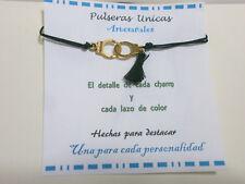 "Pulsera artesanal  "" ESPOSAS ""  cordón negro"