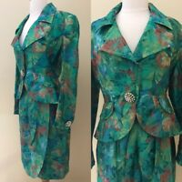 Vintage 1980s Adele Simpson I. Magnin Green Floral Skirt Suit Rhinestone Buttons