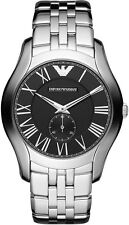 Emporio Armani AR1706 Stainless Steel-Black Dial 43mm Men's Watch NEW Fast Ship