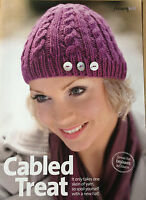 KNITTING PATTERN Ladies Cable & Ribbed Design Hat Button Design Winter PATTERN
