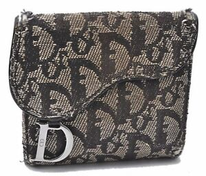 Authentic Christian Dior Trotter Saddle Bifold Wallet Canvas Leather Black C8974