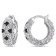 Amour Sterling Silver 1/6ct TDW Black and White Diamond Earrings