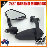 """CNC black Motorcycle 7/8"""" 1"""" Handle Bar End Rear  View Mirrors KAWASAKI YAMAHA"""