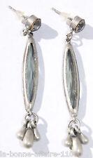 BOUCLES D'OREILLES FANTAISIE PENDANTE perle ovale grise tendance mode soirée