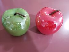 2pc Red and/or Green Apples Ceramic Mirror Finish Shiny Pearlescent Decoration