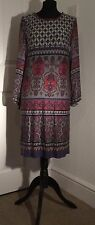 M&Co geometric patterned mushroom & pink tunic dress size 12
