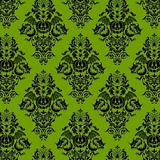 Fabric #2387 Halloween Black Design on Green Henry Glass End of Bolt @ 52-3/4""