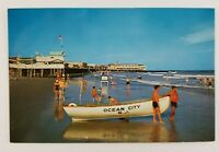 Postcard Bathers Life Guard Boat Ocean City New Jersey