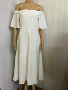WITCHERY SIZE  10 WHITE OFF THE SHOULDER MIDI DRESS