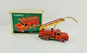 Vintage Schylling Fireman Christmas Fire Engine Red Yellow Toy Ornament