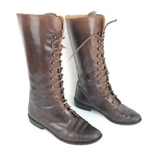 Joan & David VTG Womens Boots Mid Calf Lace Up Brown Leather Size EU 37 US 6.5