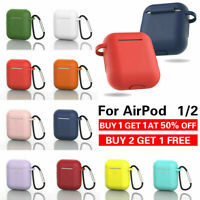 For Apple AirPods Case 1/2 Silicone Protector Shockproof Full Cover + Keychain