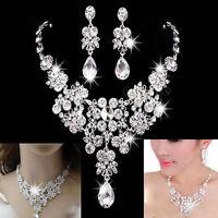 Wedding Bridal Prom Crystal Rhinestone Pendant Necklace Earrings Jewelry Set