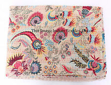 Indian Handmade Quilt Vintage Kantha Mukut Twin Bedspread Throw Cotton Blanket