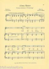 "GEORGIA TECH Vintage Song Sheet c1927 ""Alma Mater"" - Original"