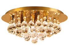 Modern Round Ceiling Chandelier Light Crystal Droplets GOLD STX50019-4G0