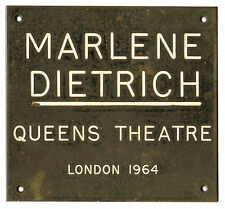 Marlene Dietrich Estate: Her Owned Queens Theatre Plaque