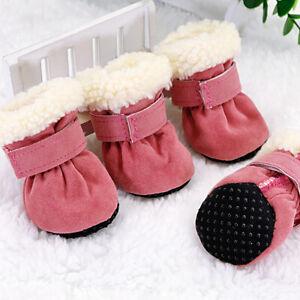 Winter Dog Snow Shoes Small Medium Dogs Non-slip Fleece Boots Pink Outdoor Socks