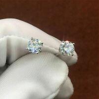 14K White Gold Finish 1.00Ct Round Cut Diamond VVS1/D Solitaire Stud Earrings