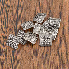 10Pcs Vintage Square Shank Buttons for Jacket Coat Shirt Silver DIY Sewing Craft