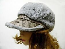 Faux Fur Cap Warm Winter Fashion Polka Dot Pearl Studded Pink Brown Gray White