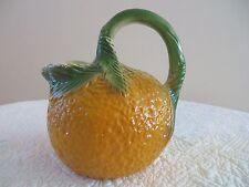 Vintage Orange Shape Textured Pitcher Handcrafted Pottery Artist Marked