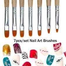 7Pcs Wooden Nail Art French Acrylic UV Gel Tips Extension Builder Brush Pens Kit