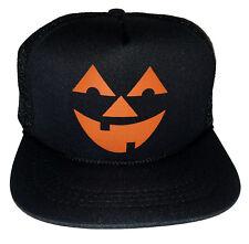 Kids Pumpkin Head Halloween Costume Snapback Mesh Trucker Hat Cap Black