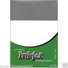 10 A4 Self Adhesive Inkjet Gloss Silver Plastic Film Sticker Art Sheets Ink Jet