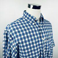 Brooks Brothers Mens Large Short Sleeve Casual Shirt Blue White Plaid Cotton