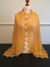 Beautiful lace 100%pure cashmere shawl / scarf / wrap,  col: Deep Yellow