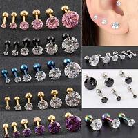 JW_ 2Pcs CZ 3 Prong Tragus Piercing Earring Stud Ear Ring Stainless Steel Natu