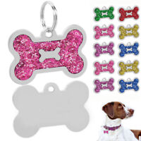 Personalized Dog ID Tags Engraved Glitter Bone Shape Disc Disk Custom for Puppy